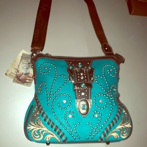 Turquoise concealed carry crossbody bag NWT